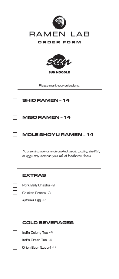 This is the order form that was filled out for each customer