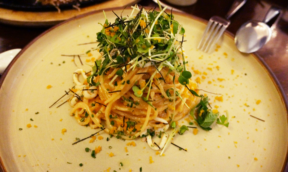 Spicy Mentaiko Spaghetti。我觉得除了Uni Risotto就剩这道了。芝士味浓浓,吃着好开心也好满足。他的价格也算是菜单上的lower end,性价比超高!