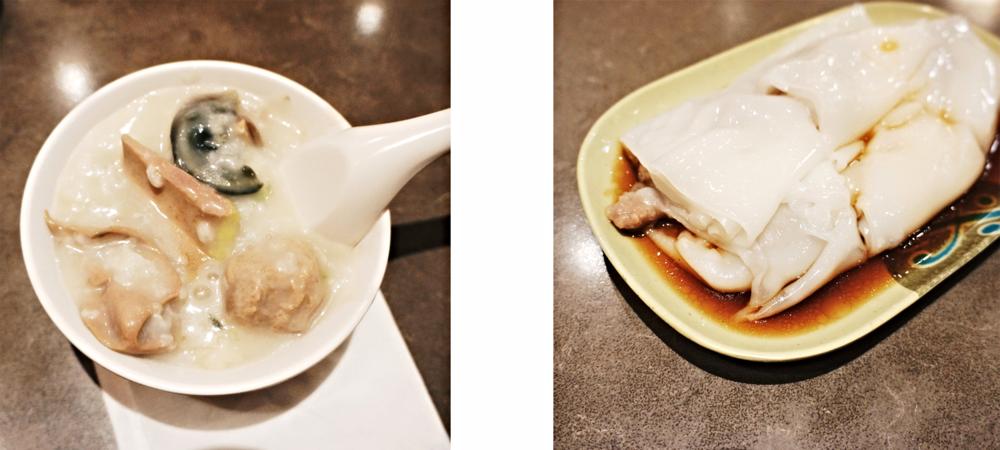 左边是我随意盛出的一碗,并没有为了效果多盛菜,看看这料多足!真是要惊喜地拍手了!右边是牛肉肠粉。