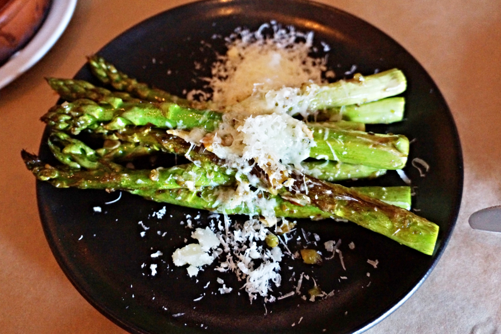 Pan roasted Asparagus with Spring Garlic, Almonds, Manchebo Cheese and Sherry Vinegar $9