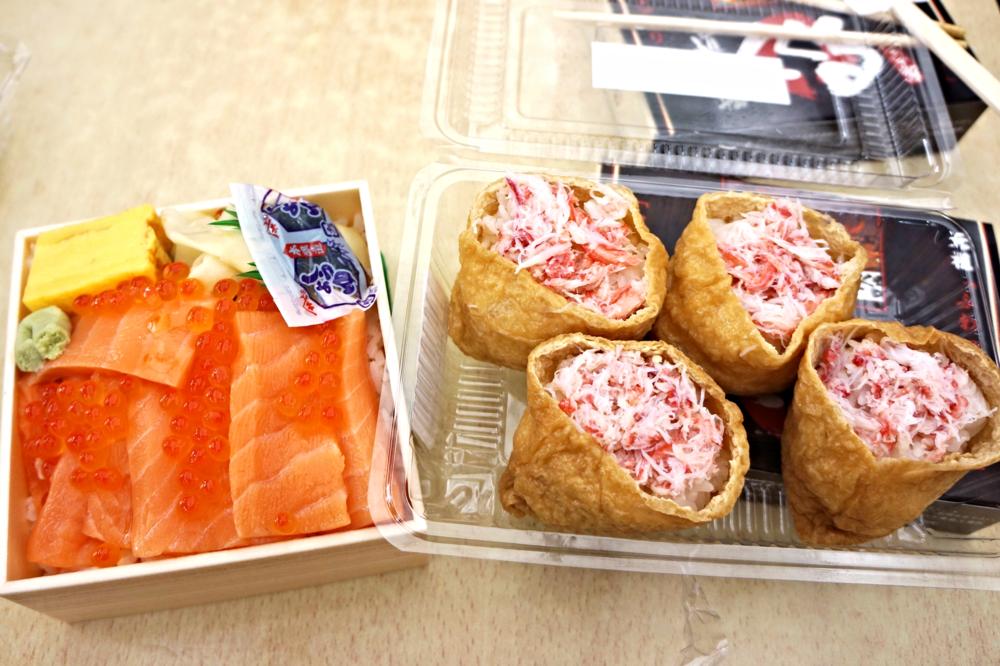 左边是北海道来的三文鱼,右边是Inarisushi with crab meat and lotus root 没有期待中那么惊艳,不过还是好吃啦。