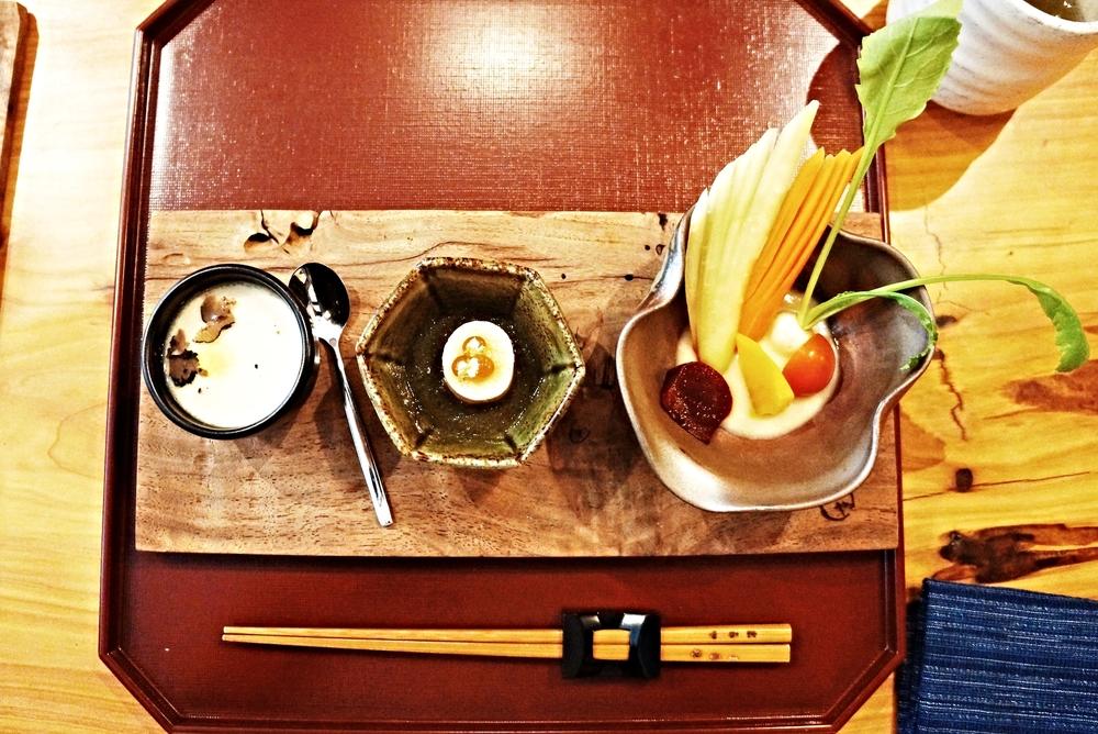 Santen Mori: tofu with truffle,fish pate, mini vegetables