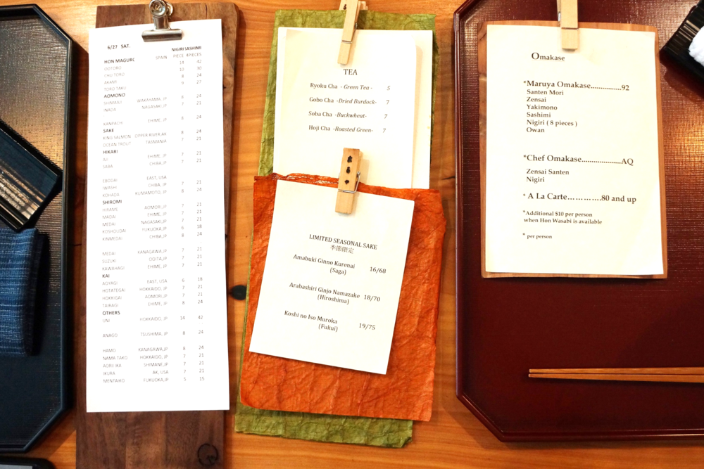 菜单,酒水单。第一次拜访我选择了Maruya Omakase