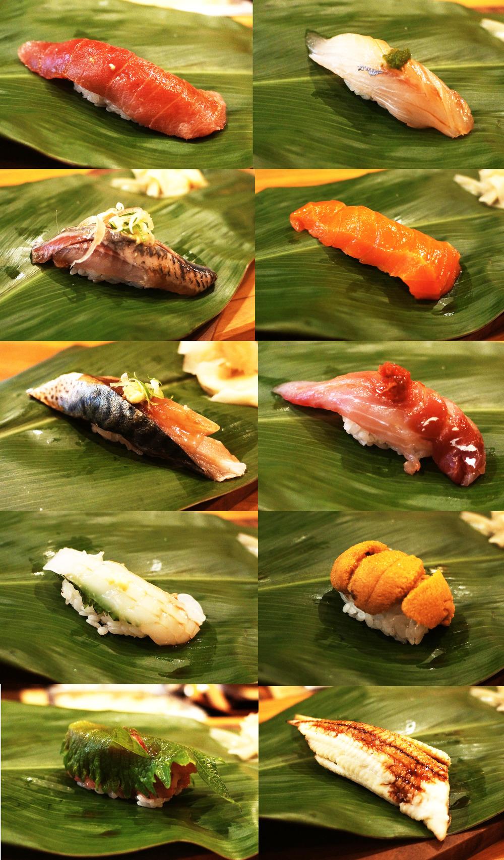 Nigiri: omakase里包括了8-piece nigiri,自己又单点了anago和saba。最喜欢的就是anago了,因为不是之前就烤的蒲烧鳗鱼,现在烤制之后再刷上一层酱汁味道更加清新,焦糖味道也更浓。不得不说,我的chef还要再加强一下技术,其中的两个sushi芥末放得太多,有一个更是足足把我吃哭了。捏的不好的也不会扔掉,而且重新捏捏或者放到你盘子上之后再捏捏,请问是捏橡皮泥么?