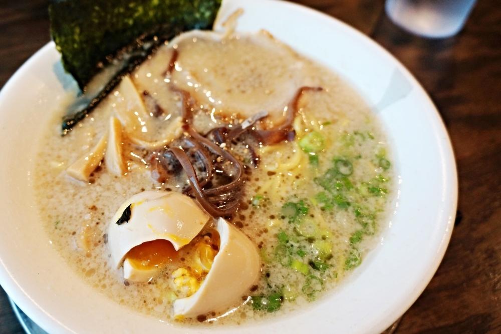 Orenchi Ramen(Tonkotsu)骨汤面 $9.8 (egg, pork, green onion, bamboo shoot, mushroom, sesame, nori seaweed)