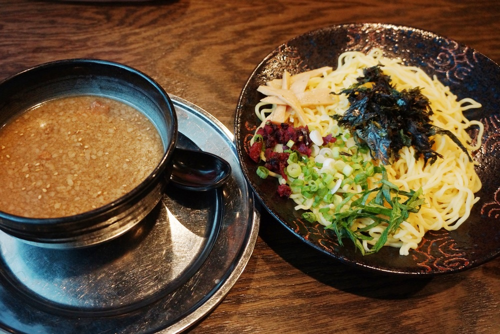 Ore No Tsukemen(Dipping Noodles)蘸面 $15 (block cha-shu, green onion, pickled plum, bamboo shoots, nori seaweed, ōba leaf)
