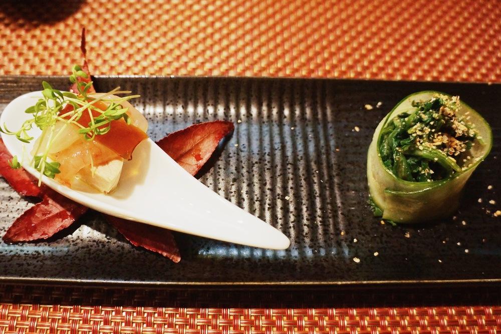 Ankimo and amaebi in the spoon with truffle oil; spinach and sesame with cucumber 我很久没吃过了鱼干了,不得不说这是我吃过最smooth的,一点颗粒感没有,成色非常light,搭配新鲜的amaebi太适合了。Truffle oil更是在传统的搭配上加了一层delicate的口感。