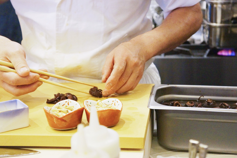 Chef preparing the appetizer