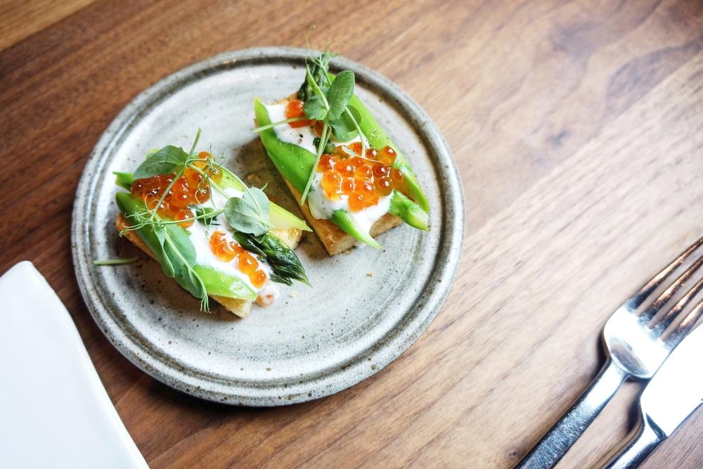 Asparagus, Brioche, Creme Fraiche, Salmon Roe - $6
