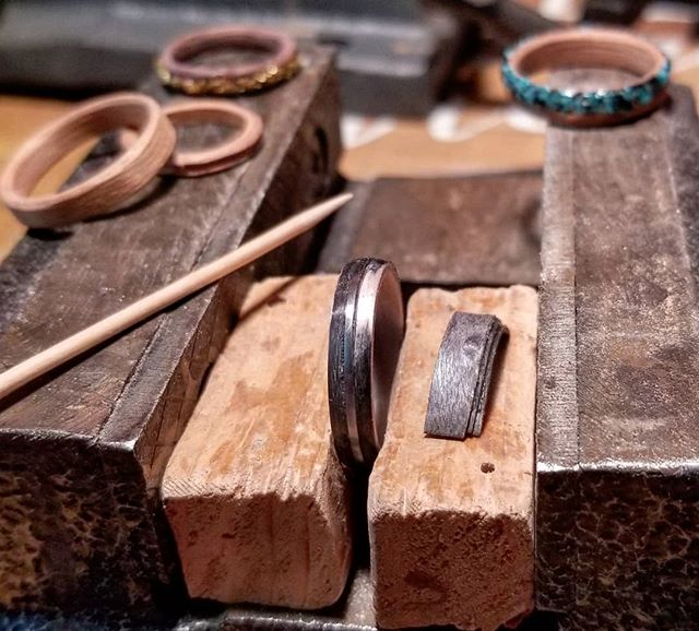 Very precise ring fixing today. Toothpick for scale haha. Some more orders headed out today and tomorrow. 😊 Hope everyone's summer is going well! #bentwoodrings #bentwoodring #weddingring #engagementring #anniversaryring #etsy #etsyseller #woodworker #etsyjewelry #sterlingsilver #brooklynwedding #handmadering