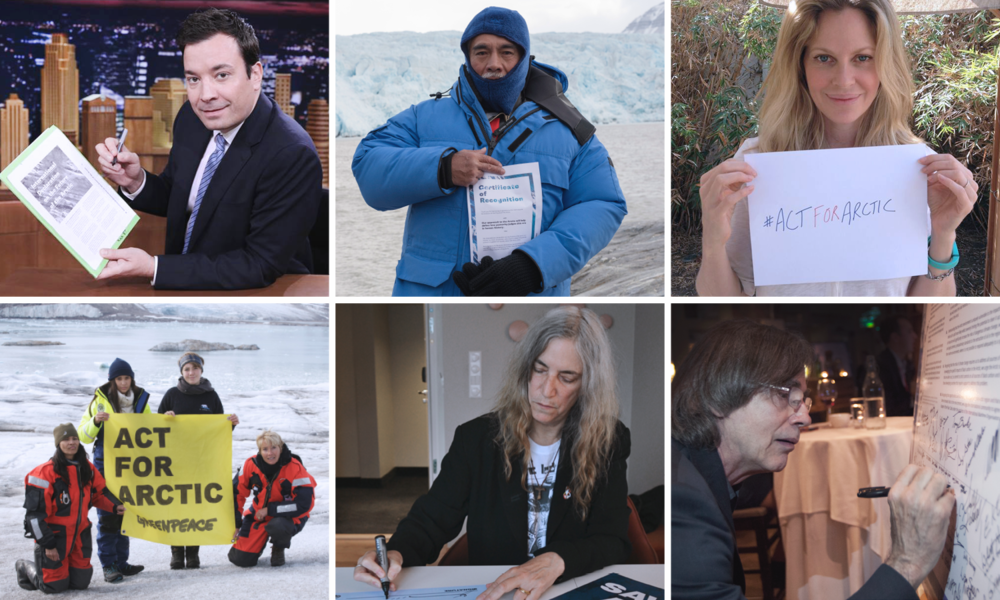 Some of the influential signatories to the Arctic Declaration include: TV host Jimmy Fallon, President of Kiribati Anote Tong, Actress Kristin Bauer, Actresses Emma Thompson and Michelle Thrush, Singer-songwriter Patti Smith and Singer-songwriter Jackson Browne. © Nick Cobbing, Michael Nagle, Victoria Henry / Greenpeace.