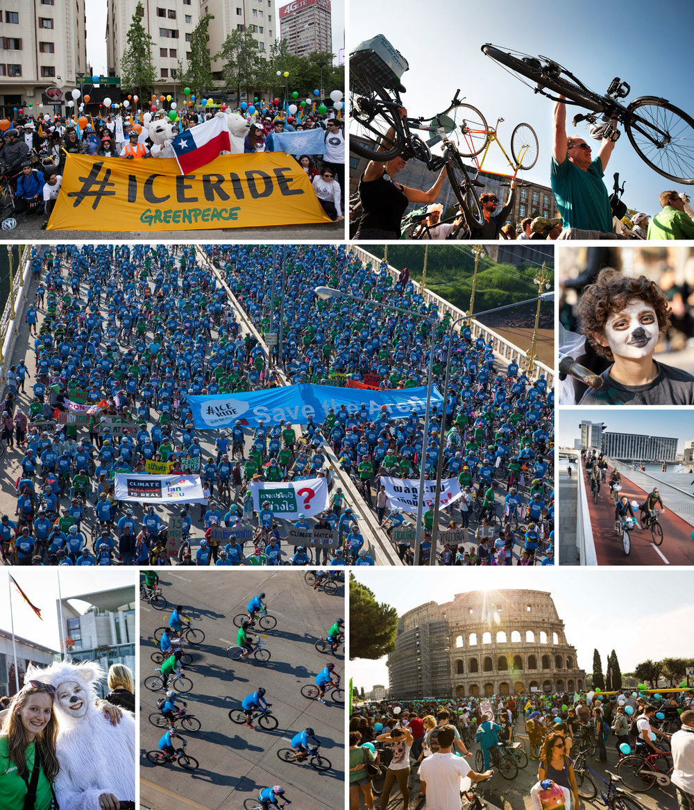 From top left: Ice Rides in Santiago (Chile), Hannover (Germany), Phitsanulok (Thailand), Copenhagen (Denmark), Berlin (Germant) and Rome (Italy). © Greenpeace