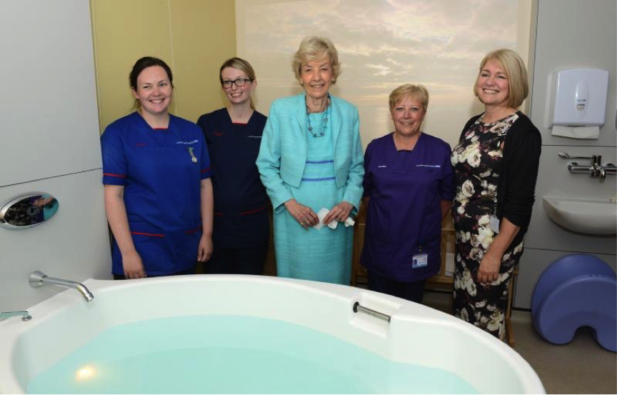 Baroness Cumberlege with staff, including Cathy Atherton, Head of Midwifery