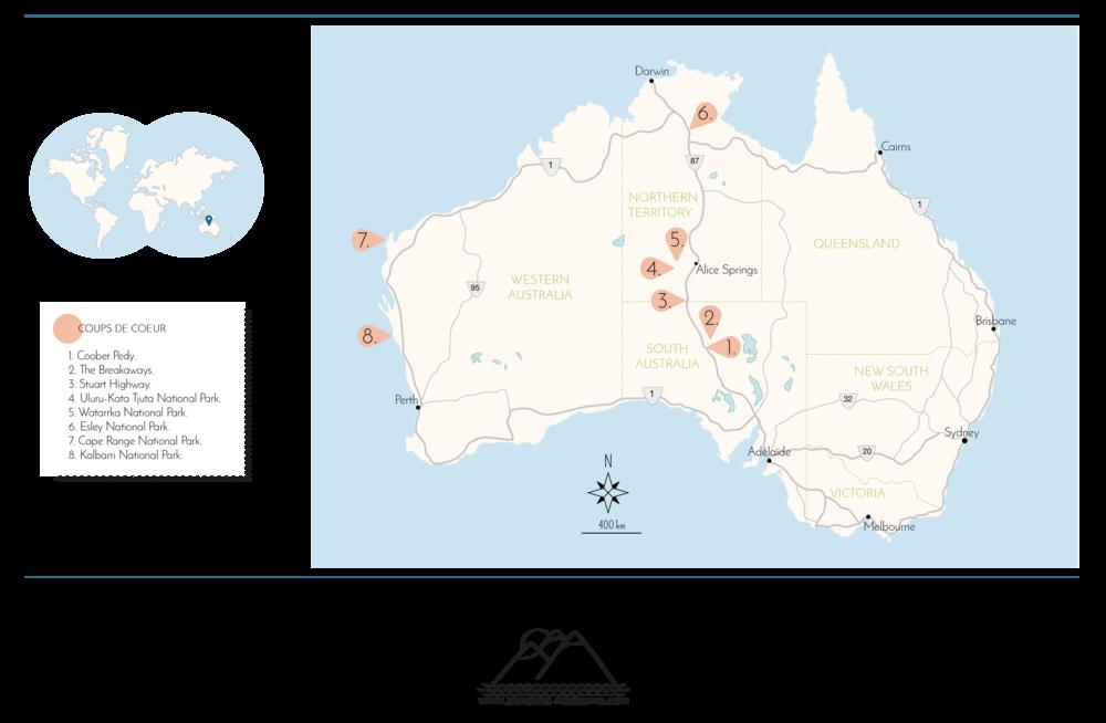 © Détours . Australie . carte . coups de coeur Août 2016