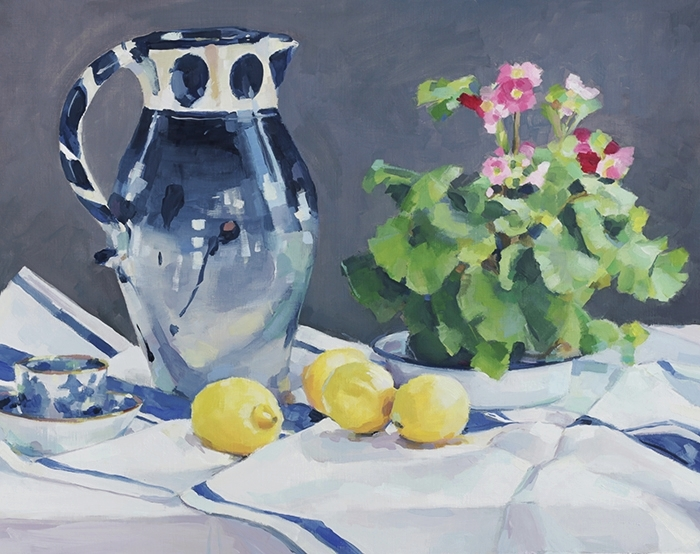 Blue jug with lemons and primula