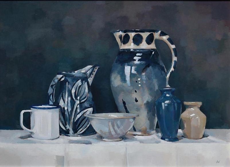 Blue Jugs, Stoneware Pots and Enamel Mug