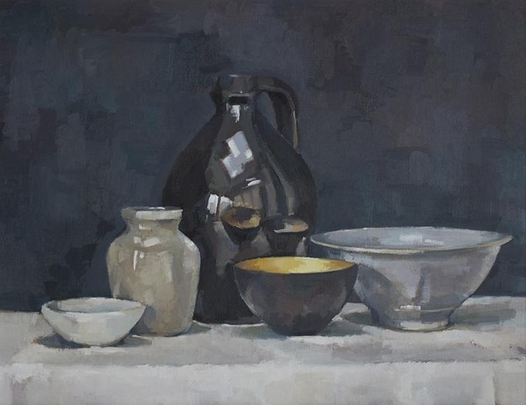 Gilt bowl and black jug
