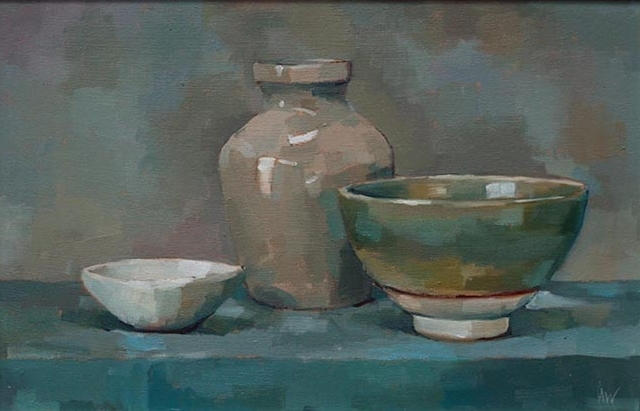 Green Bowl, Stoneware Pot and White Dish