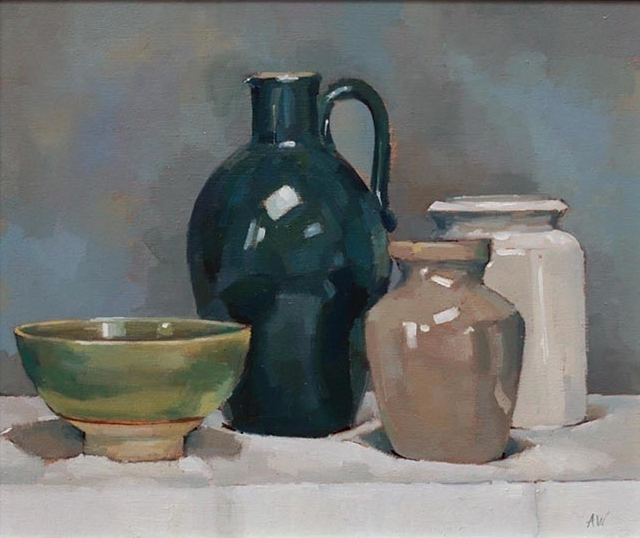 Green Jug, Bowl and two Stoneware Pots