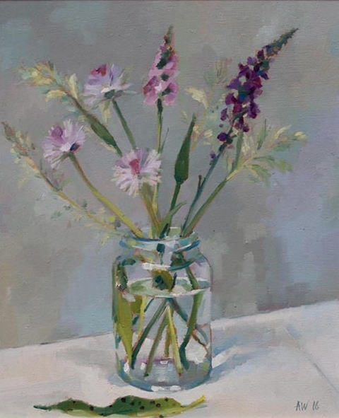 Orchid, Chives and Grasses in Jam Jar
