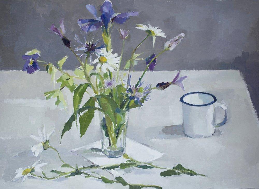 Garden flowers with enamel mug
