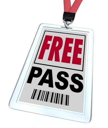 A badge and lanyard Free Pass