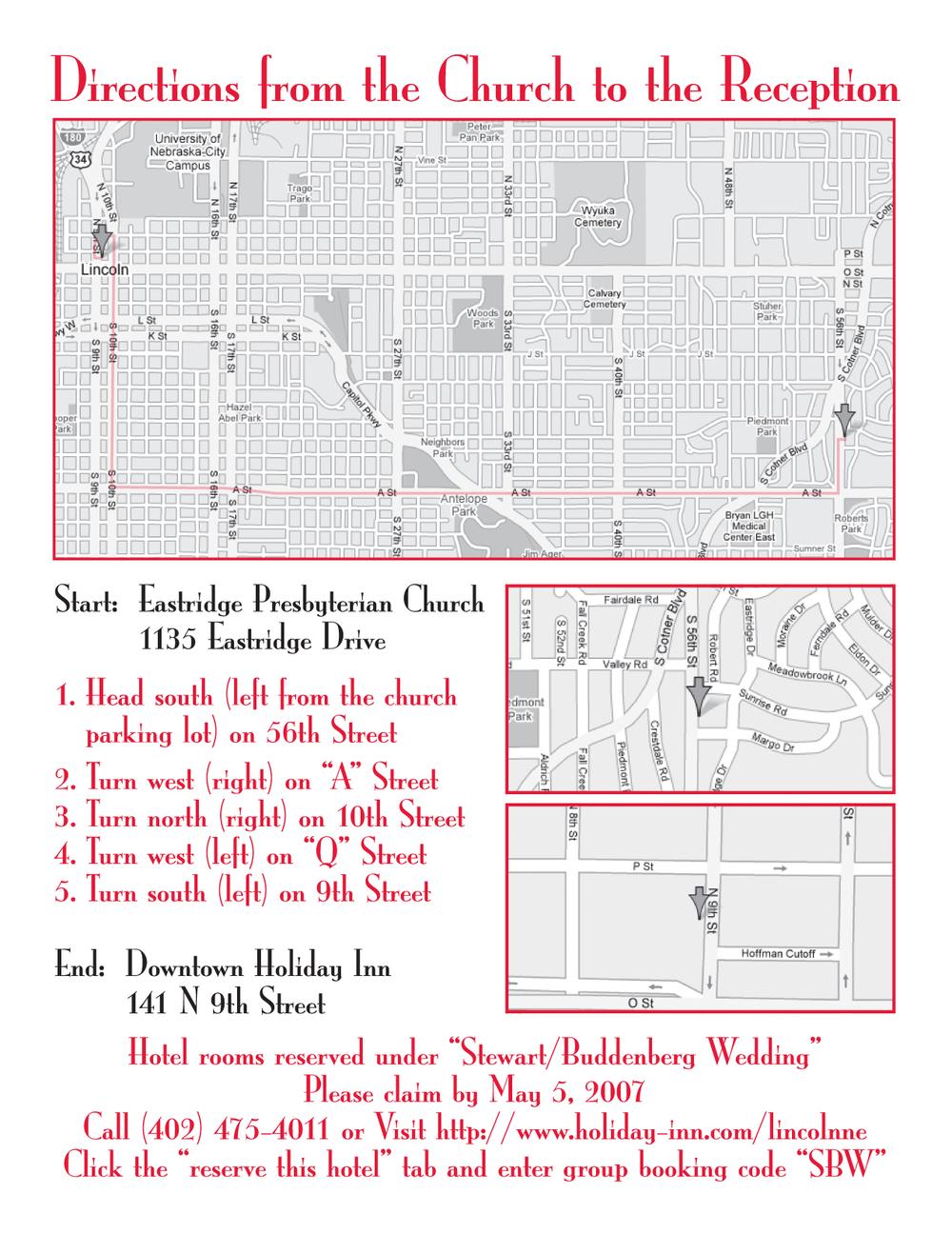 Map for wedding invitation