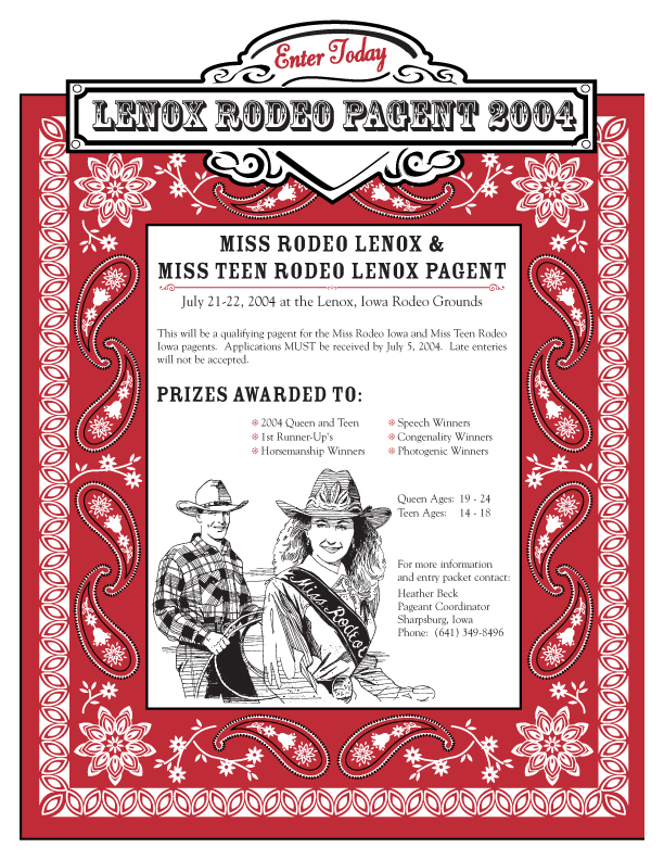 Illustrated and designed a rodeo queen contest flyer