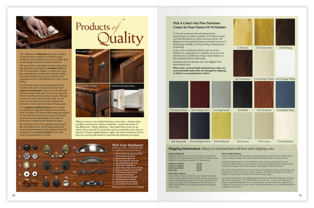 Catalog design for Southern Craftsman collection