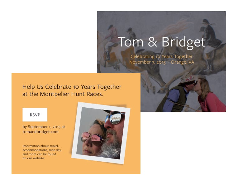 "<a href=""/tom-bridget"">Tom & Bridget<strong>Postcard Invitations</strong></a>"