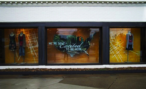 Hand-painted typography for a window display