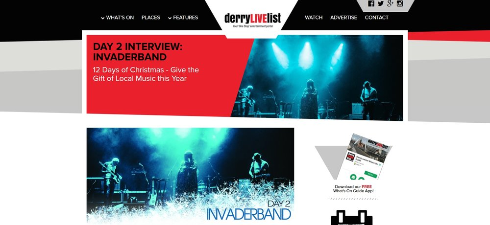 Interview with Derry Live List -  http://www.derrylivelist.com/page/day-2-interview-invaderband