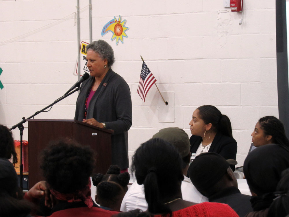 Principal Webber-Bey addresses the parents at Lottery Night 2017.