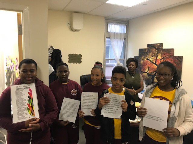 CCMS Scholars from left to right Art Egberongbe, Ayomide Aina, Janell Feraria, Kahleel English and Tolulope Agosu photographed by Mrs. Sutherland, Assistant Principal