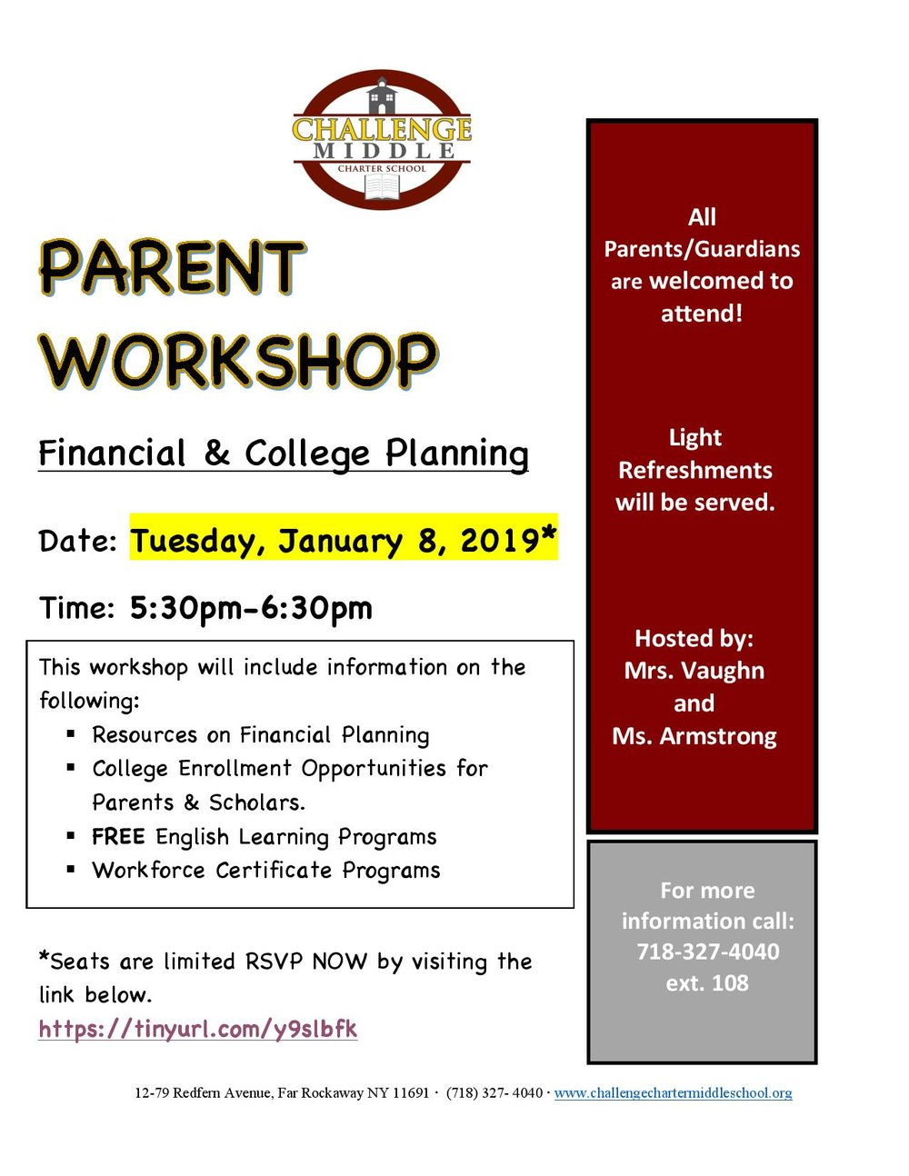 January 8 Parent Workshop Flyer