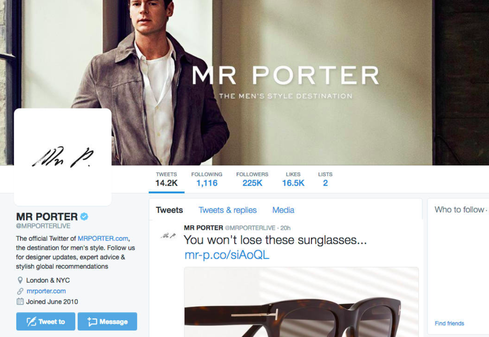 MR PORTER'S Twitter