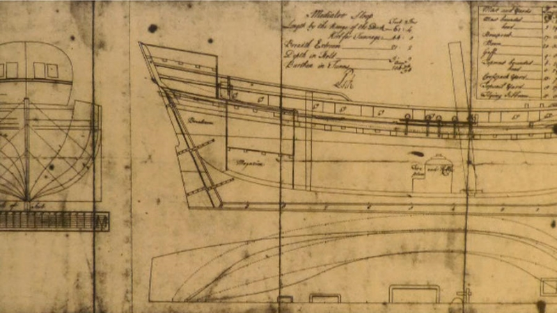 Plans of the 200+ year old ship recently discovered in Maryland River   (Photo courtesy of Maryland State Highway Administration)