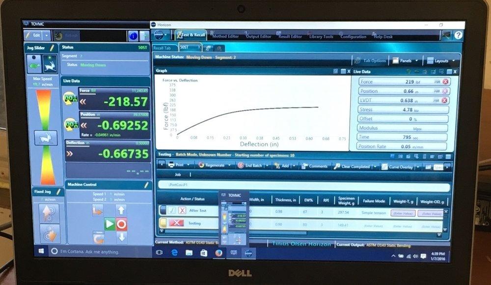 Horizon software load/deflection curve
