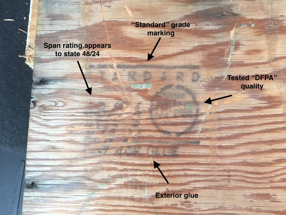 Photo 2 - Authentic DFPA plywood grade mark consistent with the time frame of Woodstock on one of my clients plywood samples.