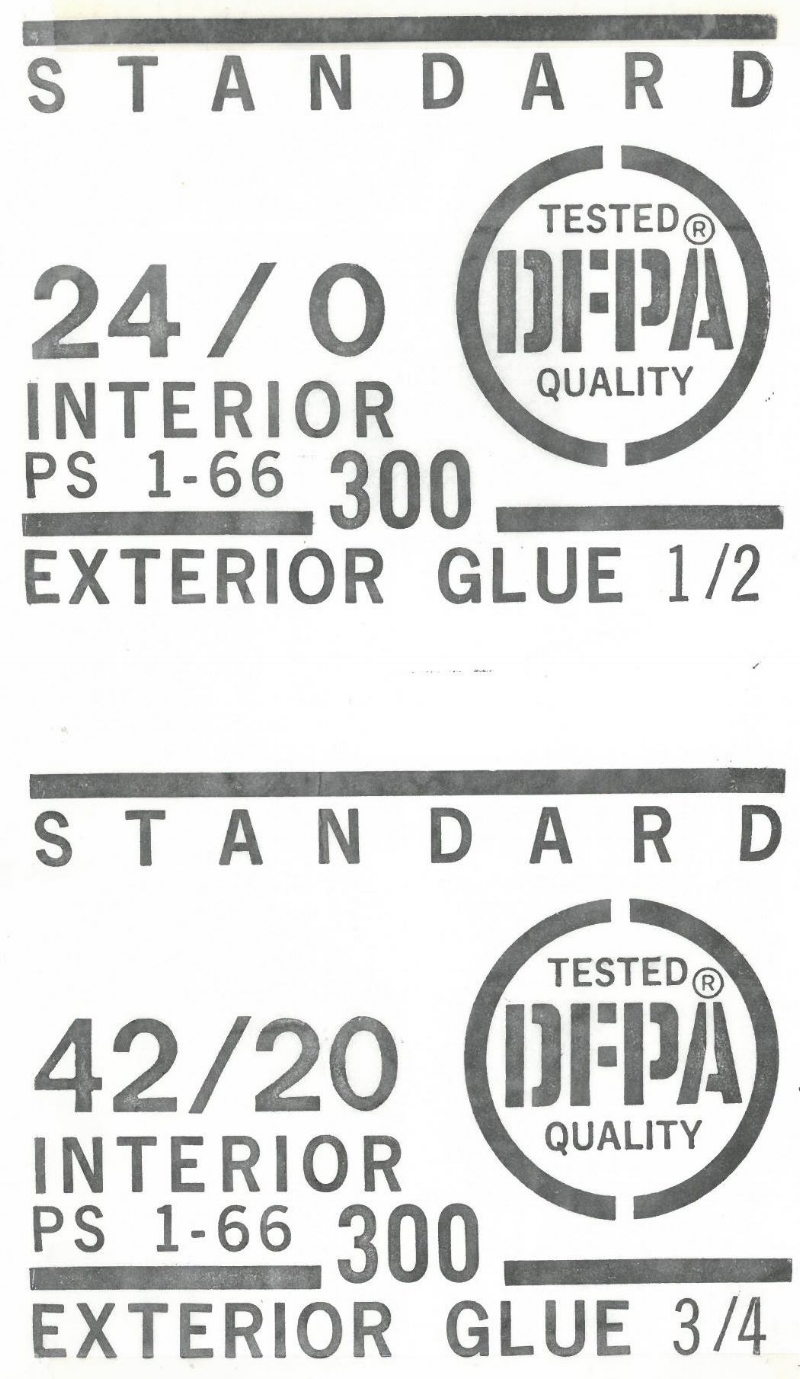 Photo 3 - Example DFPA plywood grade marks intiated in 1996 per PS 1-66 (Provided by the APA-The Engineered Wood Association).