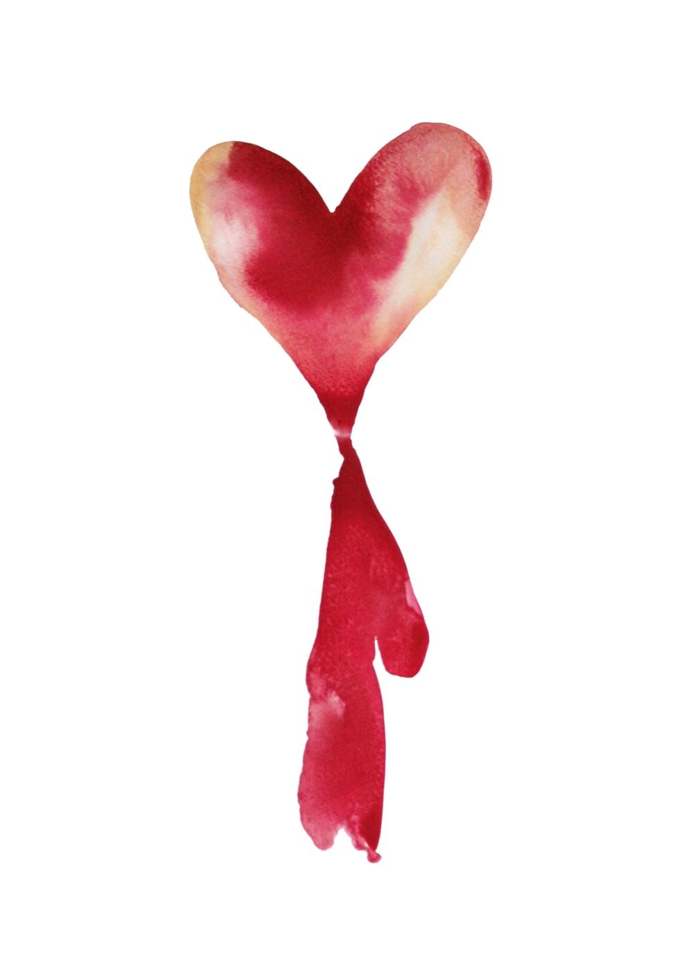 Love that bleeds (L'amour qui saigne)  , 2013, watercolor on paper, 29,7x43cm, private collection