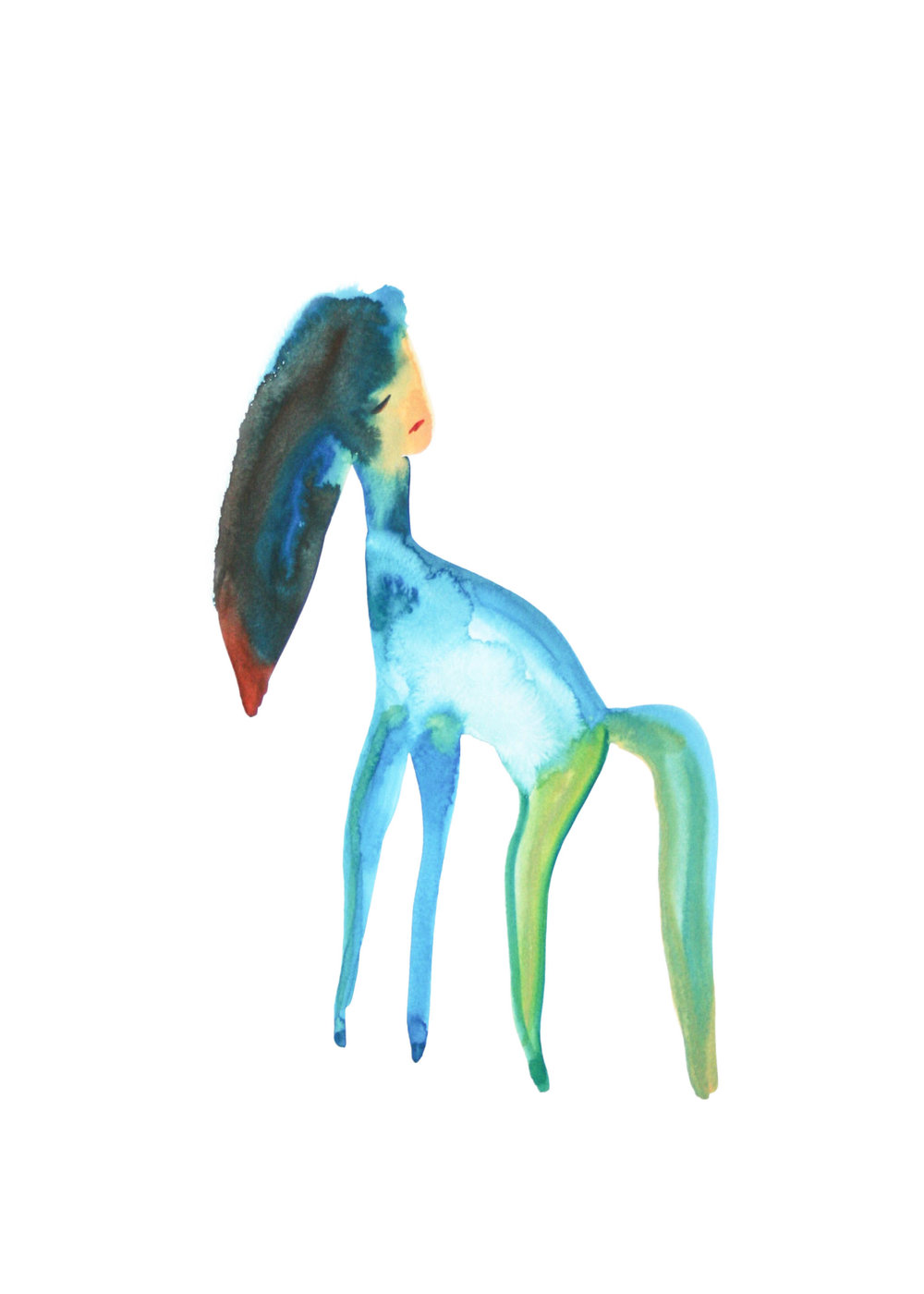Sad animal 2  , 2014,watercolor on paper, 36x48cm