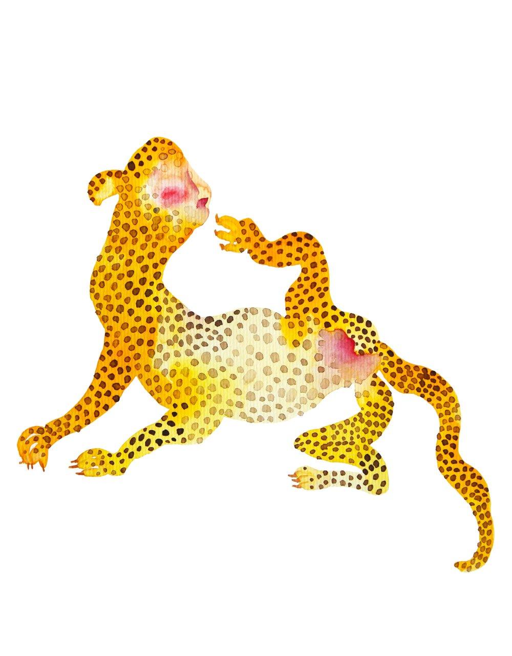 Leopard woman  , 2016, watercolor on paper,30x40cm