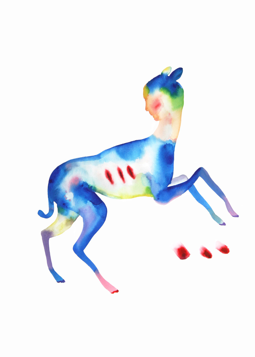 Injured dog  ,2016,watercolor on paper,57x76,5cm