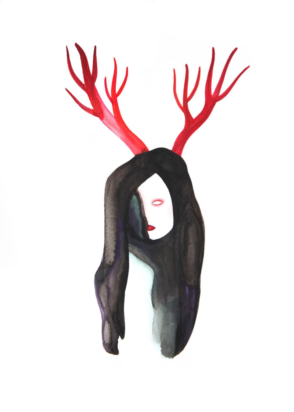 Je suis débile  , 2014,watercolor on paper,36x48cm