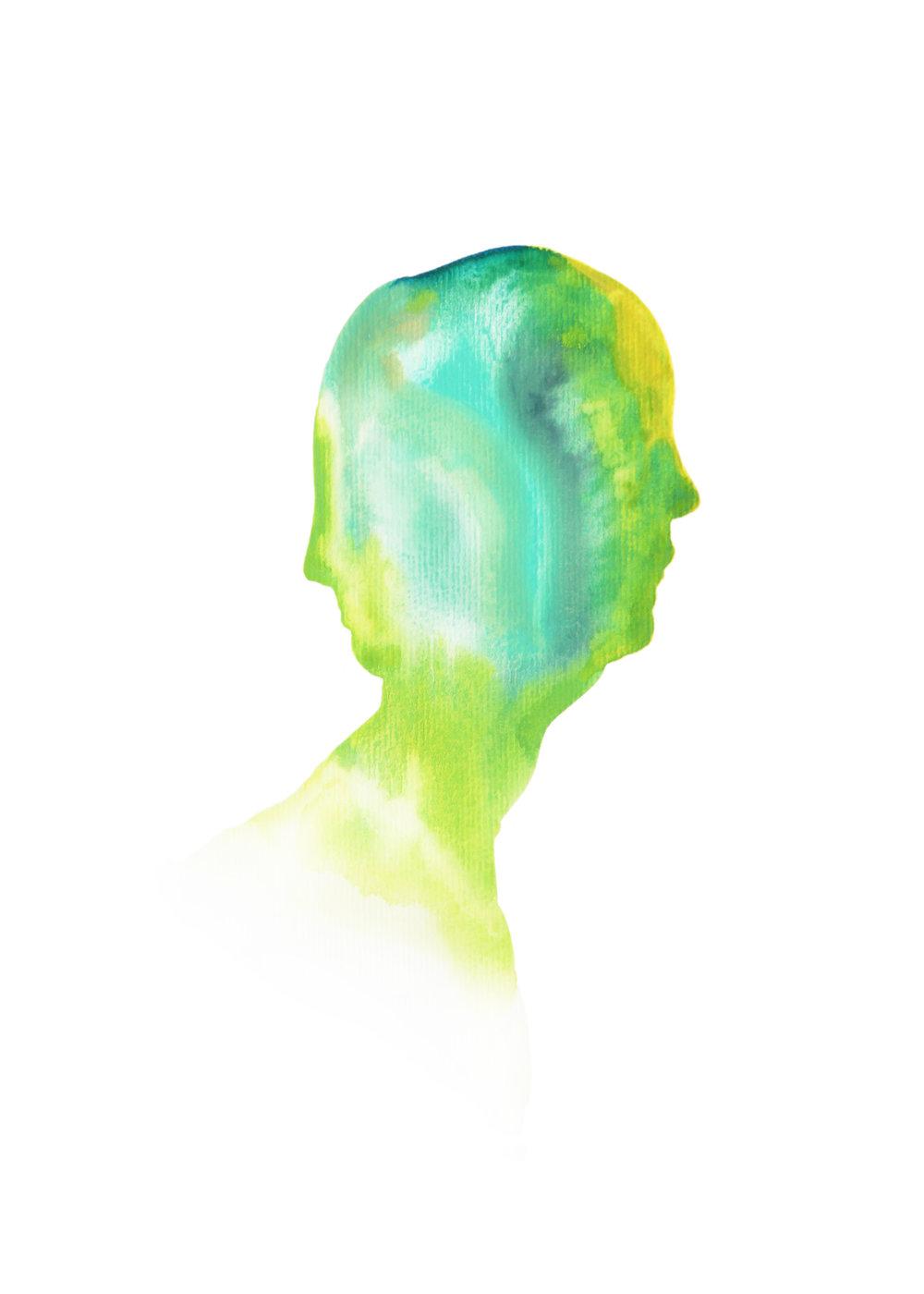 Garçon àdeux têtes (green)  ,2015,watercolor on paper,30x40cm