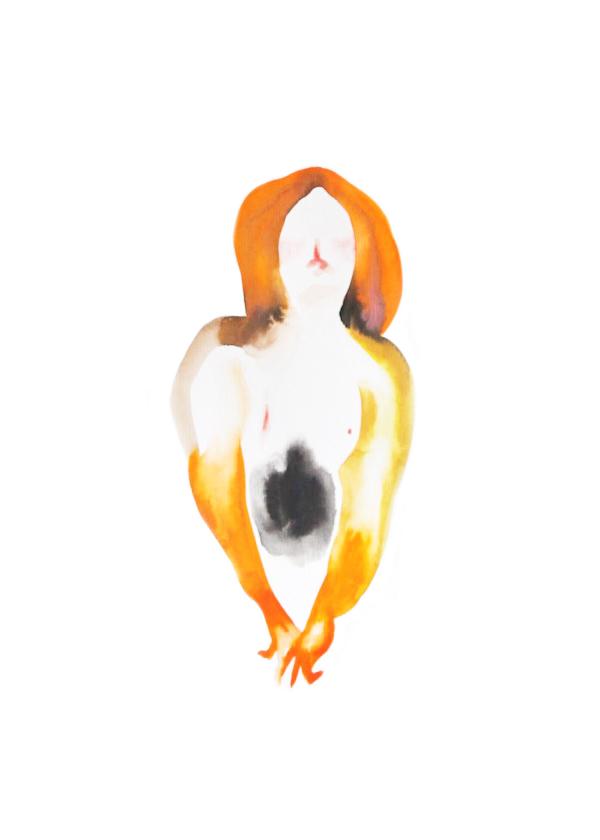 Femme aux cheveux oranges  ,2016,watercolor on paper,30x40cm, private collection