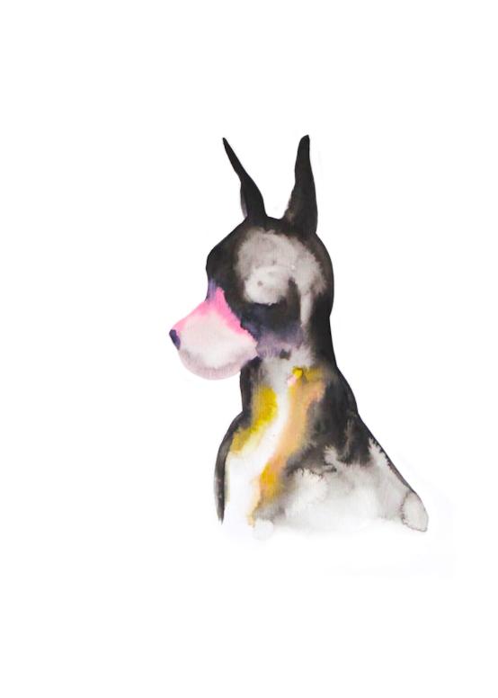 Chien de chasse  ,2016,watercolor on paper,30x40cm