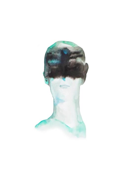 Garçon aux yeux bandes  ,2016,watercolor on paper,30x40cm