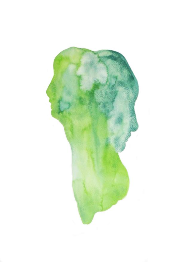 Homme àdeux têtes  ,2013,watercolor on paper,30x40cm